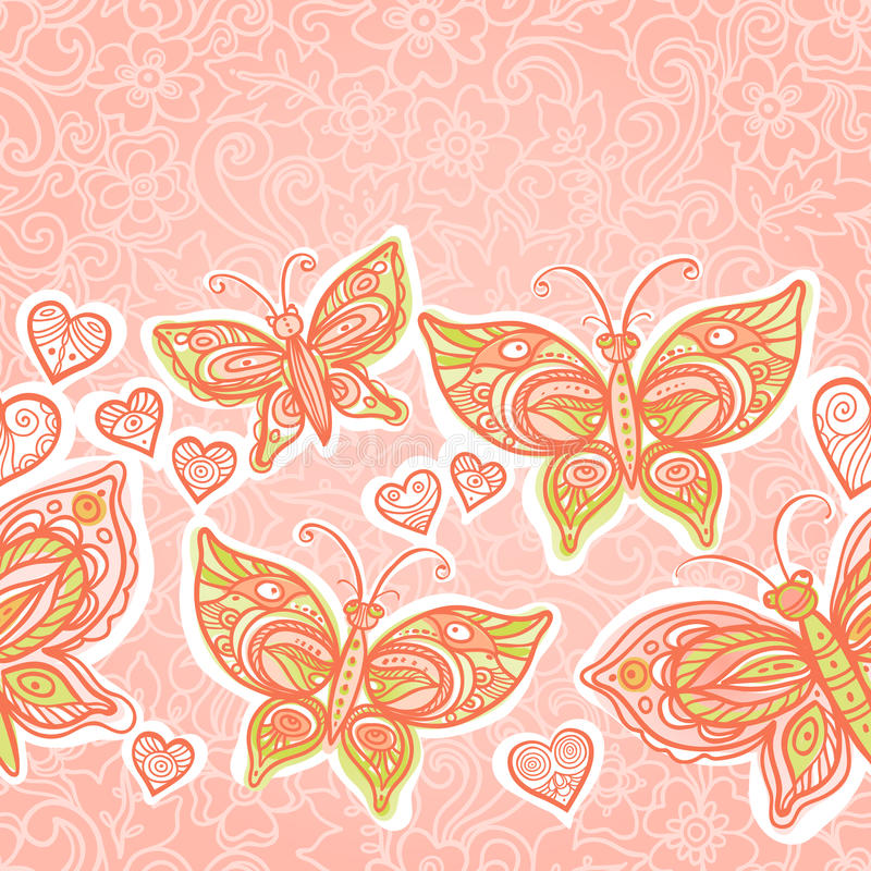 Frontera inconsútil rosada con las mariposas coloridas ilustración del vector
