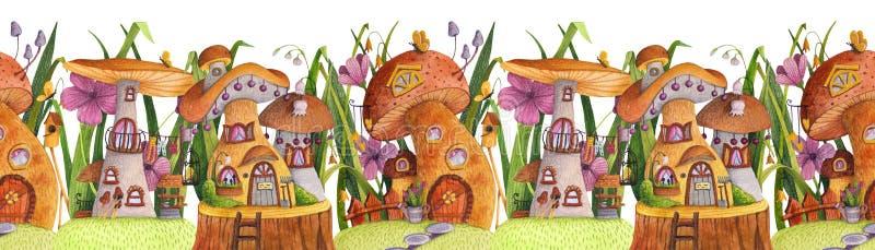 Frontera incons?til Calle de las casas de la seta con la hierba, las flores, la mariposa, nidal, la cerca, la bandera y el pozo stock de ilustración