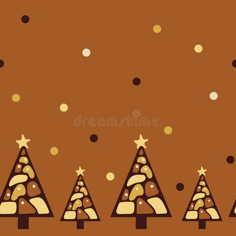 Frontera incons?til ?rboles de navidad del chocolate Diversas clases de chocolate stock de ilustración
