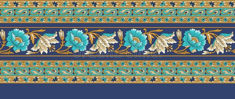 Frontera india tradicional floral incons?til ilustración del vector