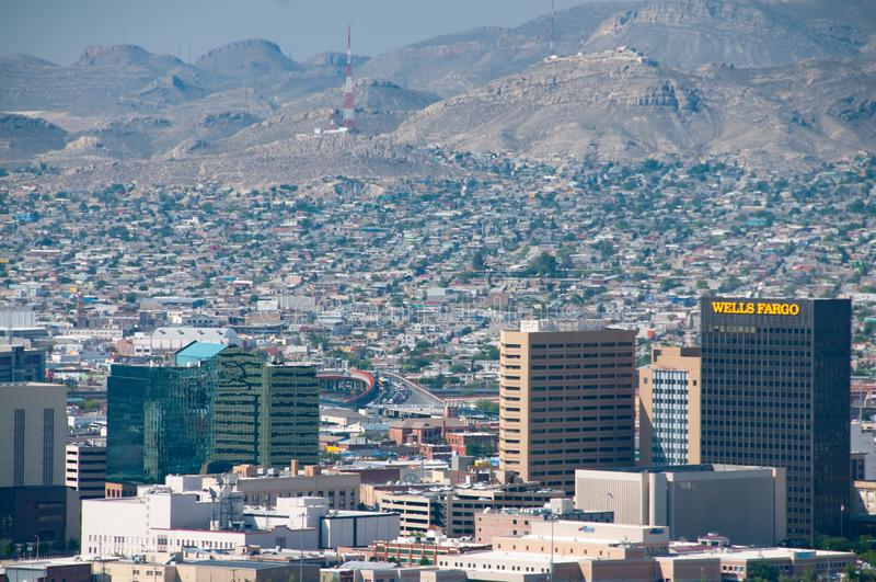 Frontera internacional en El Paso imagen de archivo