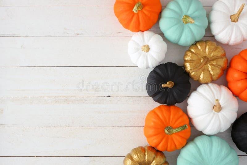 Frontera lateral del otoño de diversas calabazas coloridas en la madera blanca fotografía de archivo