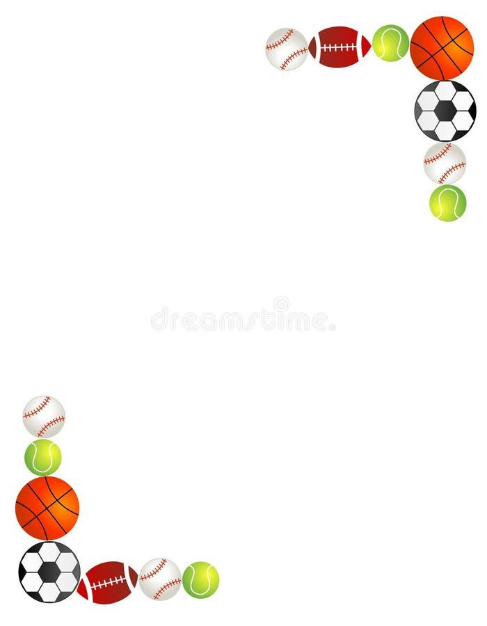 Frontera/marco de las bolas del deporte stock de ilustración