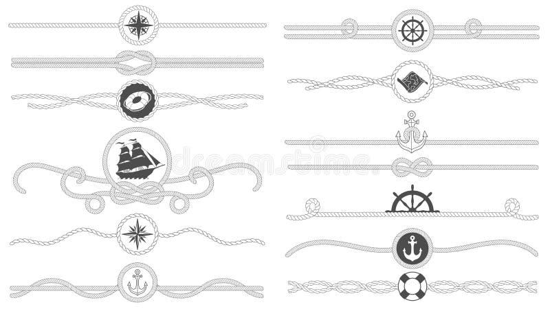 Frontera náutica de la cuerda Las cuerdas atadas náuticas alinean, divisor del ancla de la nave del mar y la decoración marina re ilustración del vector