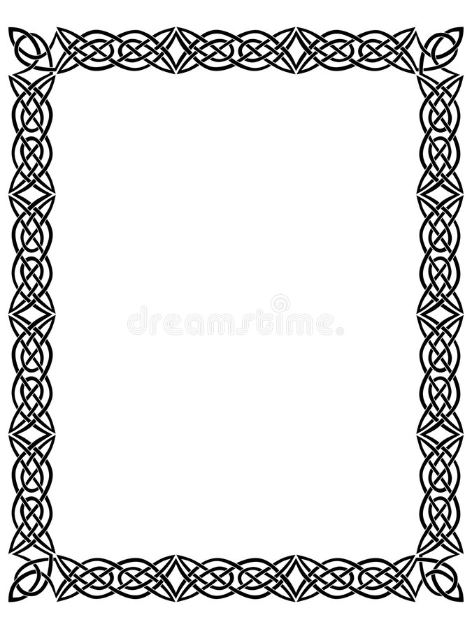 Frontera negra con el ornamento céltico   stock de ilustración