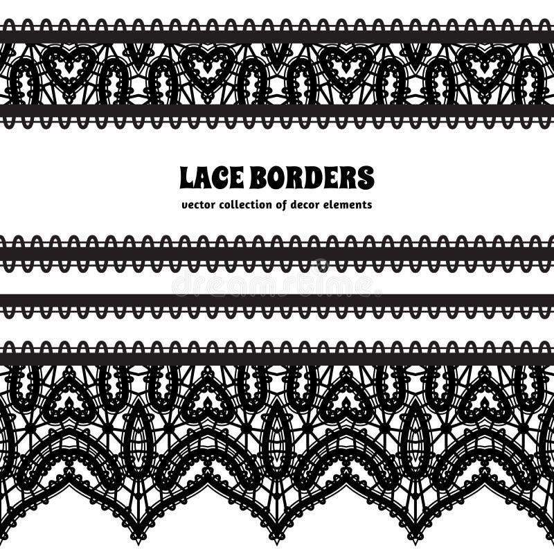 Frontera negra del cordón fijada en blanco ilustración del vector