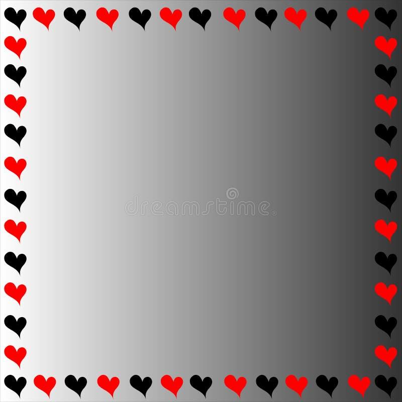 Frontera negra y roja de los corazones imágenes de archivo libres de regalías