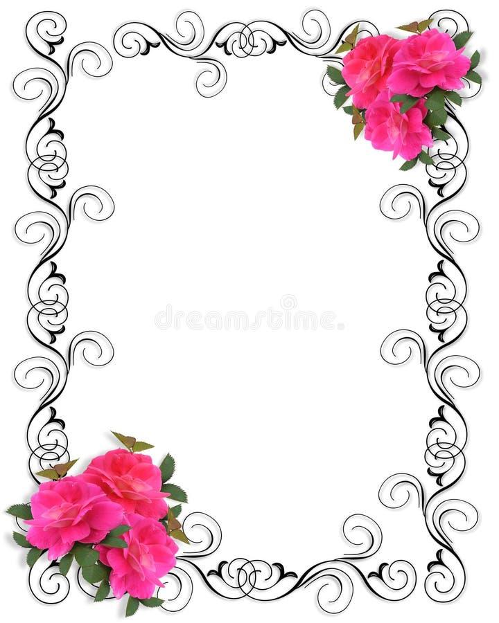 Frontera ornamental de la invitación rosada de las rosas ilustración del vector