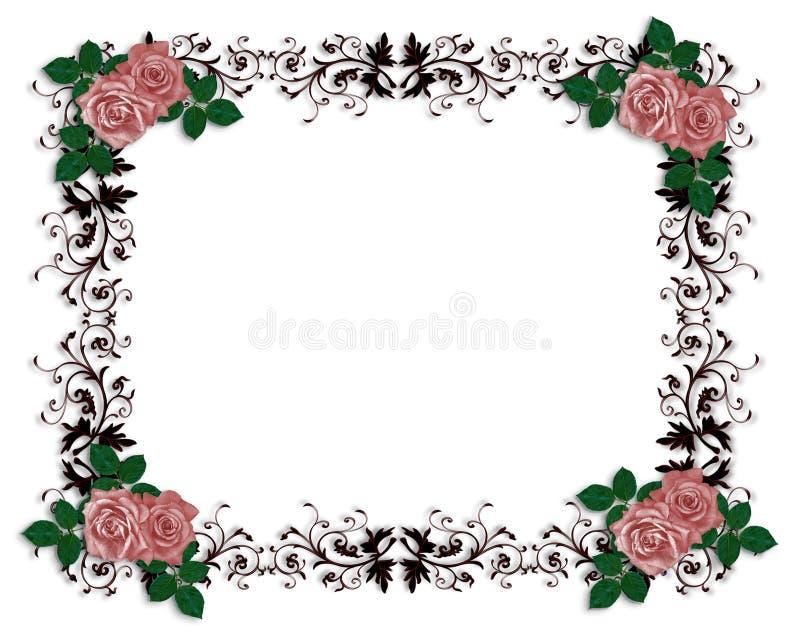 Frontera ornamental de las rosas rojas stock de ilustración