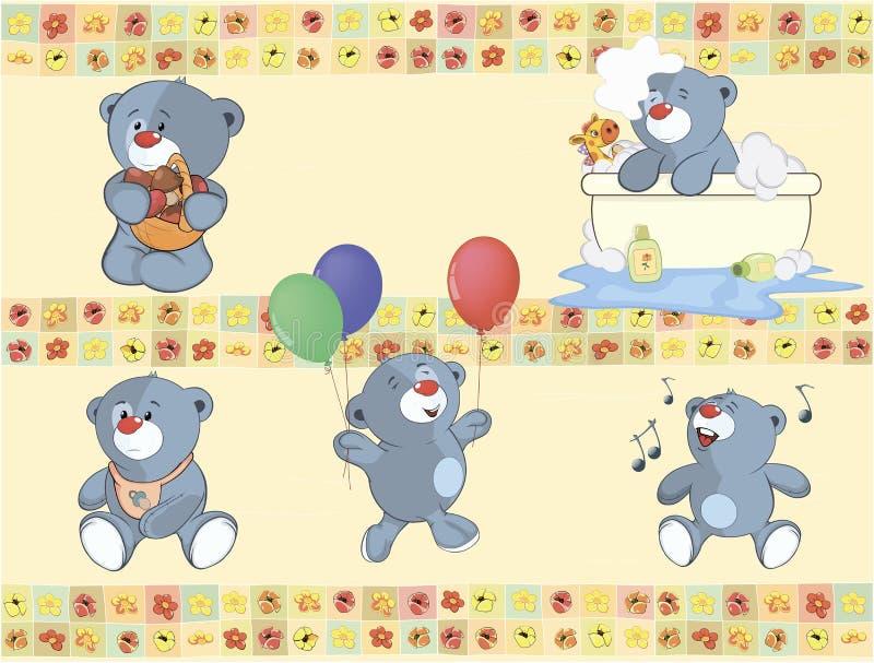 Frontera para el papel pintado con los cachorros de oso rellenos libre illustration