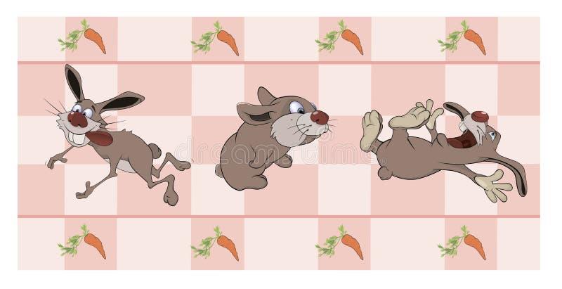 Frontera para el papel pintado con los conejos ilustración del vector