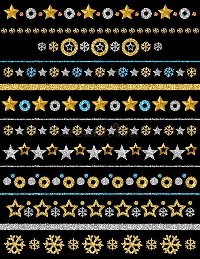 Frontera que brilla de oro y de plata de los copos de nieve, de las estrellas y de los círculos de la Navidad en el fondo negro,  ilustración del vector