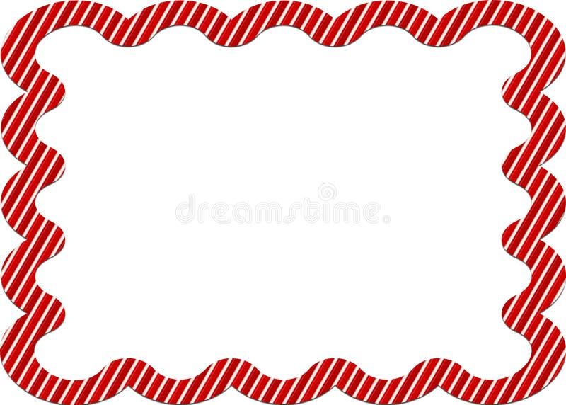 Frontera rayada del bastón de caramelo ilustración del vector