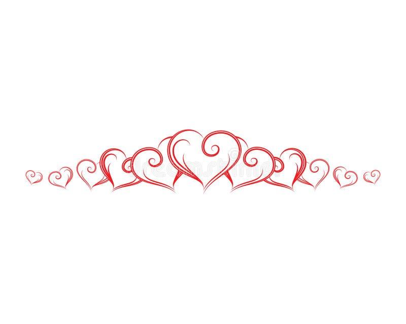 Frontera roja con los corazones libre illustration