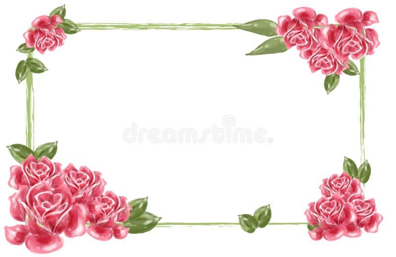 Frontera roja de la flor libre illustration