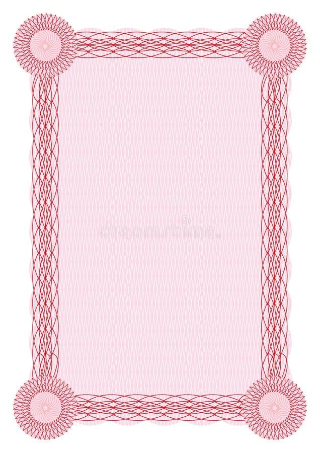 Frontera roja del guilloquis del vector para el diploma stock de ilustración