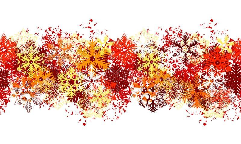 Frontera roja inconsútil con diversos copos de nieve ilustración del vector