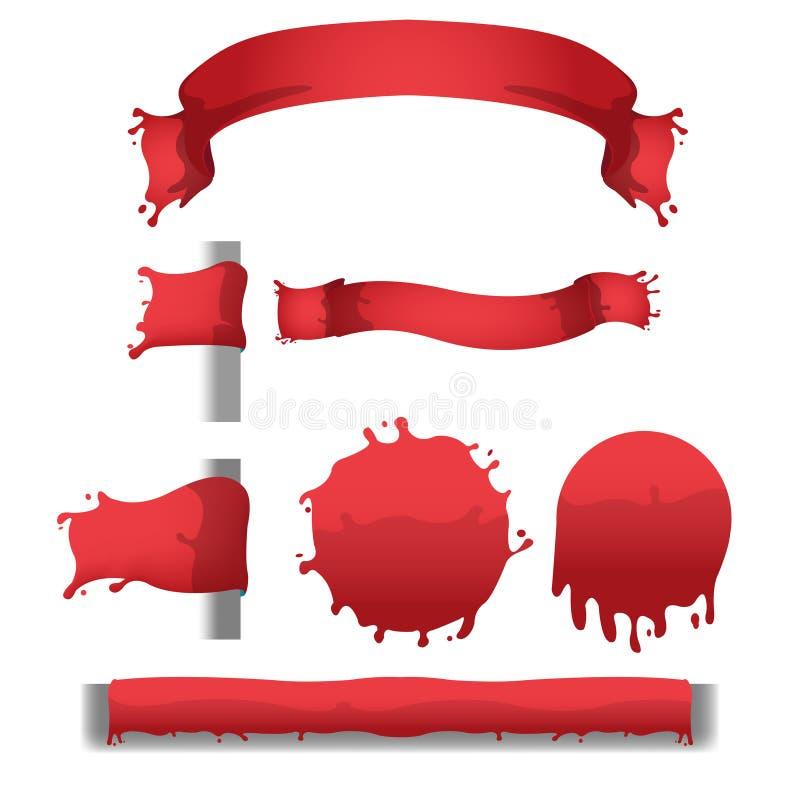 Frontera roja sangre de la bandera del chapoteo stock de ilustración