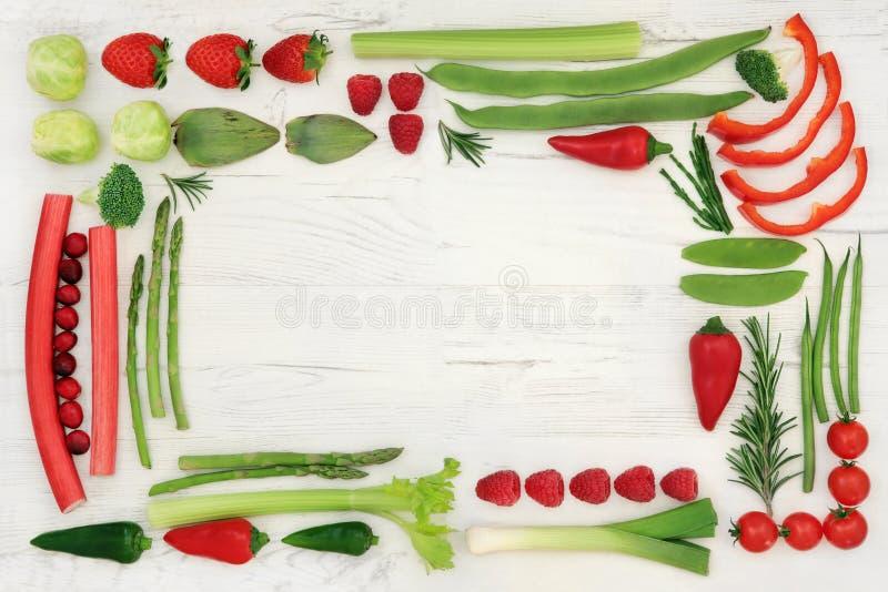 Frontera roja y verde de la comida sana fotos de archivo libres de regalías