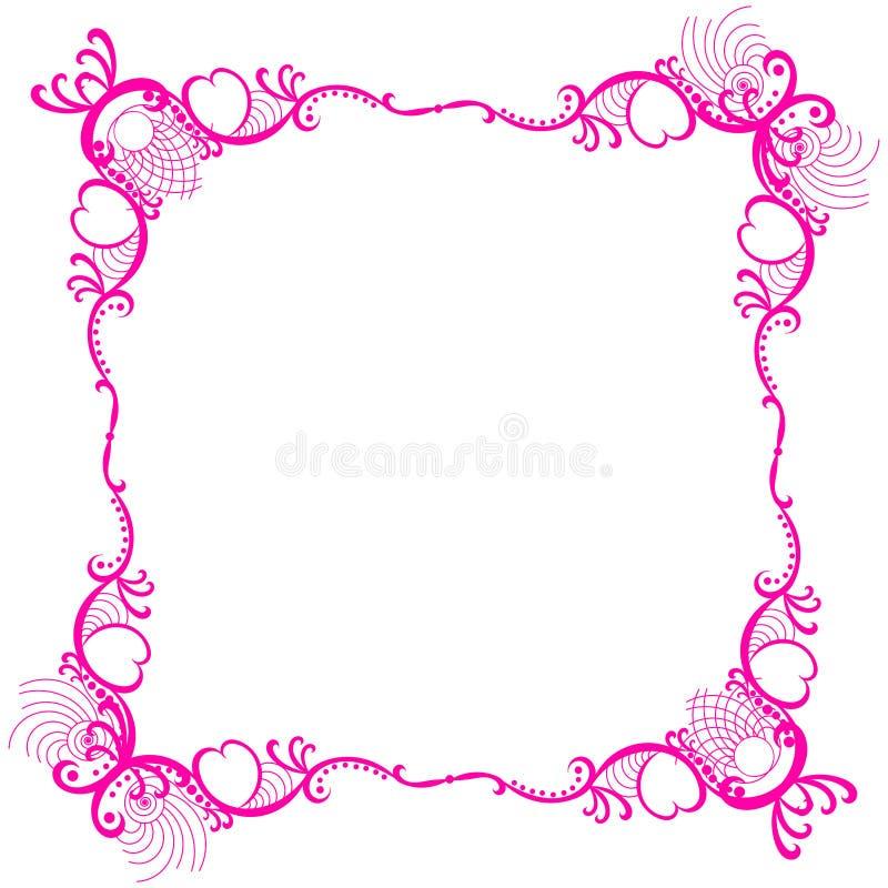 Frontera romántica rosada del cordón del marco stock de ilustración
