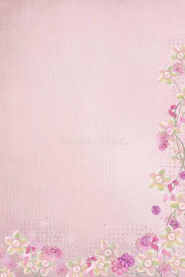 Frontera rosada de la cinta con las flores stock de ilustración