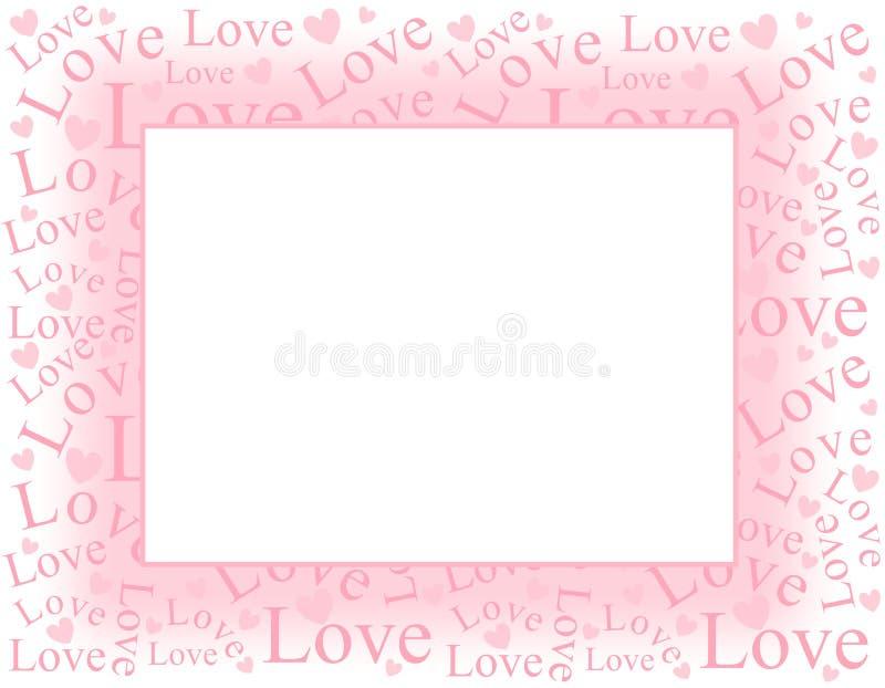 Frontera rosada suave del marco del amor y de los corazones stock de ilustración