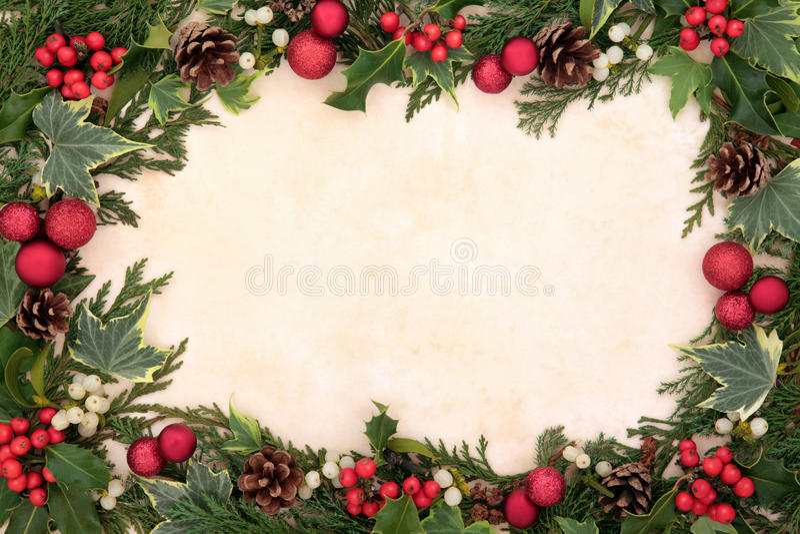 Frontera tradicional de la Navidad imágenes de archivo libres de regalías