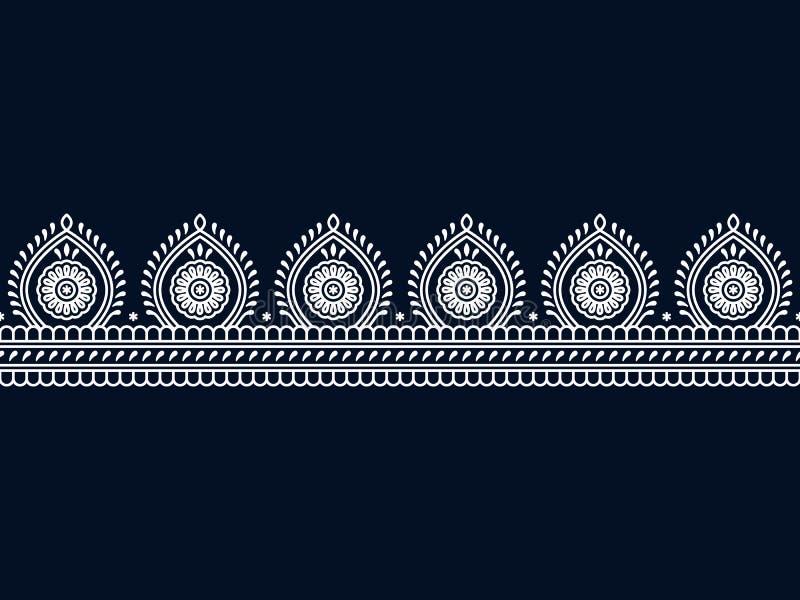 Frontera tradicional del indio inconsútil del vector plantilla incons?til en el panel de la muestra diseño para la impresión, mar stock de ilustración