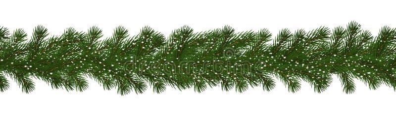 Frontera verde de la Navidad de la rama con la nieve, vector inconsútil del pino aislada en el fondo blanco Navidad stock de ilustración