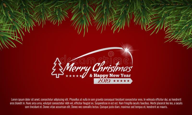 Frontera verde de las ramas de árbol de navidad en un fondo blanco Ilustración del vector libre illustration
