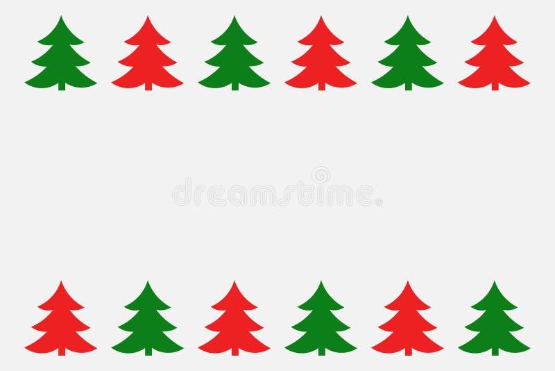 Frontera verde y roja de los árboles de navidad stock de ilustración