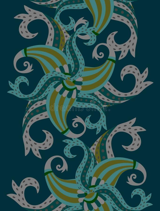 Frontera vertical de Paisley en vector Indio, chinos, japoneses, adornos turcos stock de ilustración