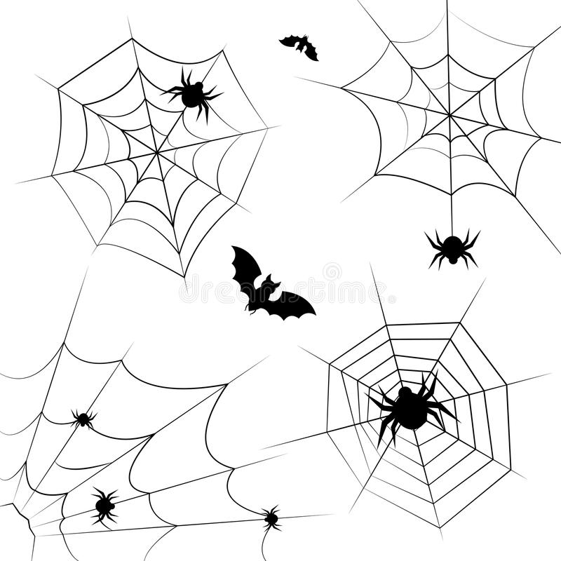 Frontera y divisores del marco del vector de la telaraña de Halloween aislados en blanco con el web de araña para el diseño asust libre illustration