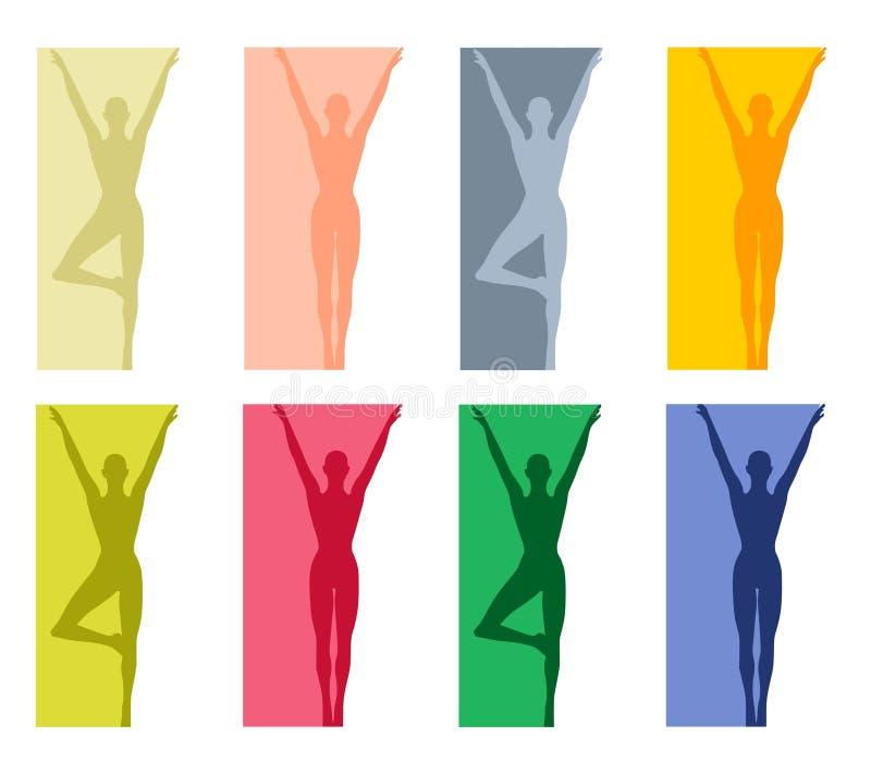 Fronteras 2 de la yoga o de la danza de la aptitud stock de ilustración