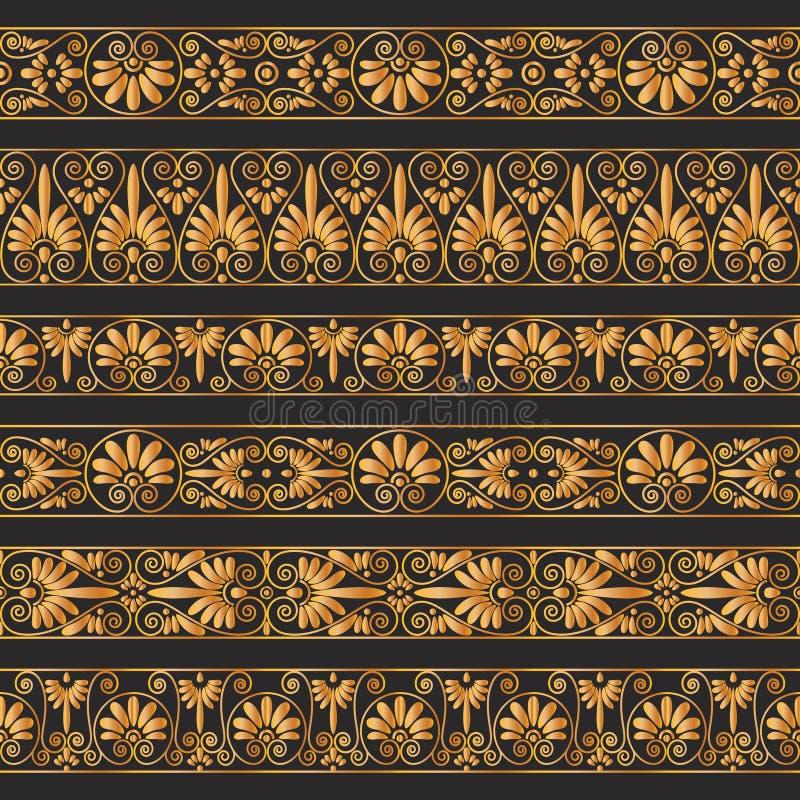 Fronteras antiguas de oro en el fondo del marrón oscuro libre illustration