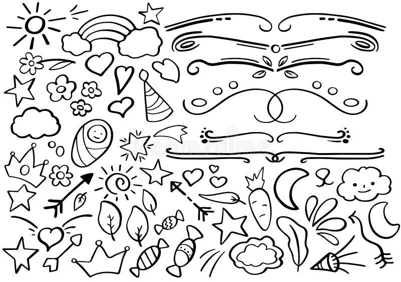 Fronteras blancos y negros del garabato Clipart Handdrawn del vector Garabato divertido fijado en estilo a pulso ilustración del vector