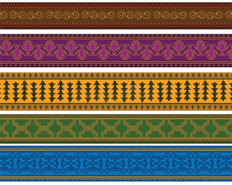 Fronteras coloridas de la alheña stock de ilustración