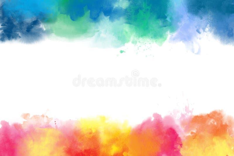 Fronteras coloridas del extracto de la acuarela stock de ilustración