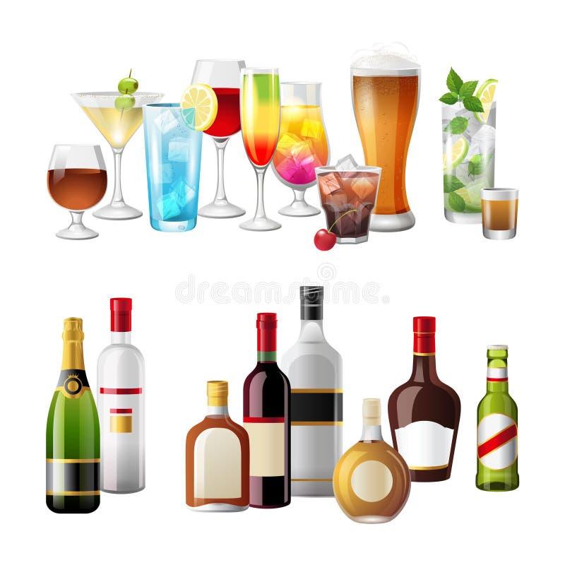 Fronteras con las bebidas del alcohol ilustración del vector