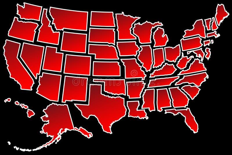 Fronteras de Estados Unidos del mapa 50 de los E.E.U.U. stock de ilustración