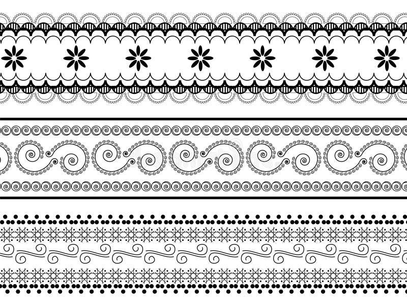 Fronteras de la alheña ilustración del vector