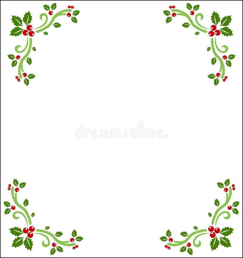 Fronteras de la baya del acebo stock de ilustración