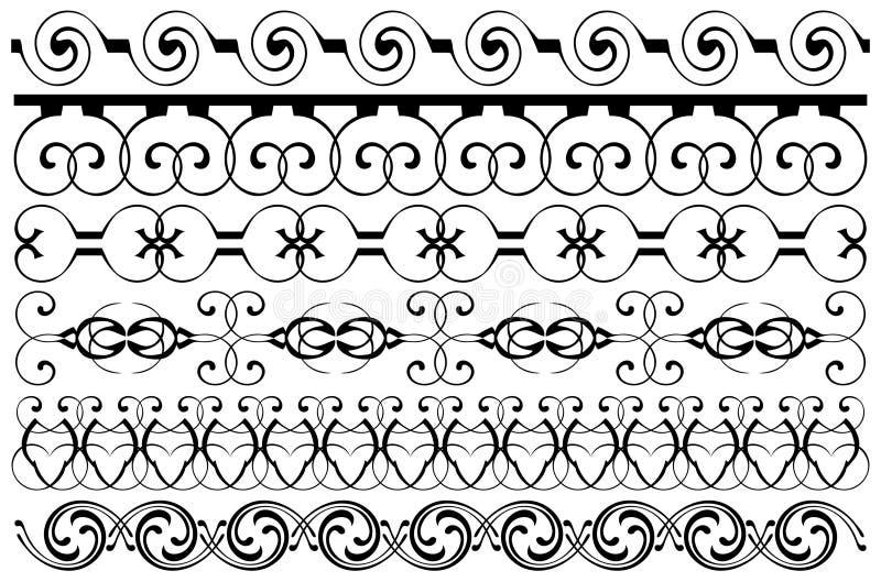 Fronteras de la decoración fijadas stock de ilustración