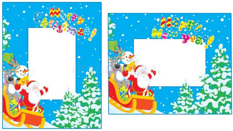 Fronteras de la Navidad y del A?o Nuevo ilustración del vector