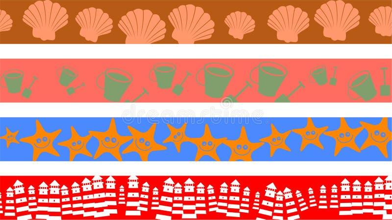 Fronteras de la playa stock de ilustración