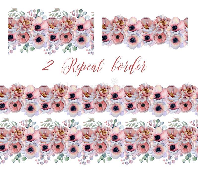 Fronteras de la repetición de la acuarela con las peonías y las flores de la anémona libre illustration