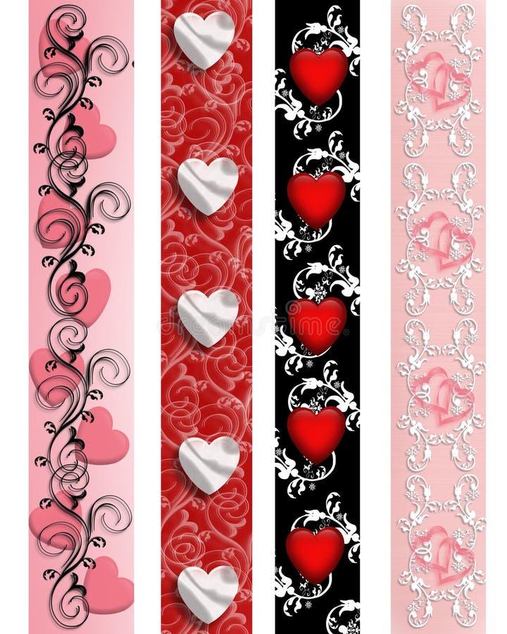 Fronteras de la tarjeta del día de San Valentín fijadas stock de ilustración