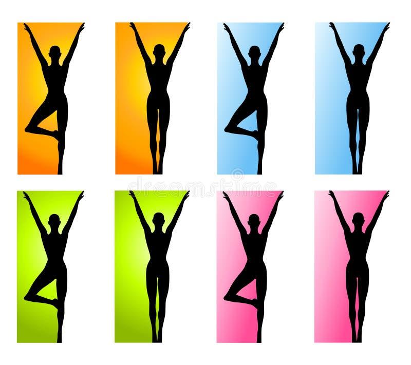 Fronteras de la yoga o de la danza de la aptitud stock de ilustración
