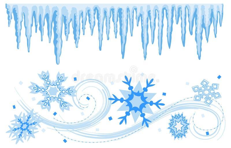 Fronteras de las banderas del invierno stock de ilustración