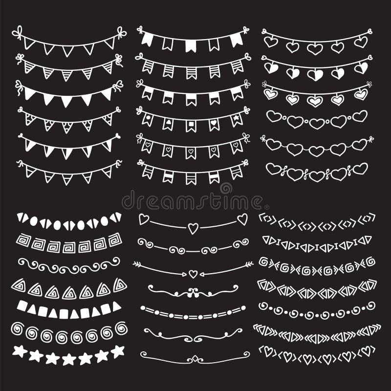 Fronteras de los divisores del garabato del bosquejo Línea dibujada mano SE del vector de la frontera stock de ilustración